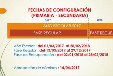 FECHAS DE CONFIGURACIÓN SIAGIE 2017