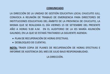 COMUNICADO DE REUNIÓN URGENTE – A DIRECTORES DE II.EE. DE TODAS LOS NIVELES DEL ÁMBITO DE LA UGEL CHUCUITO JULI.
