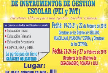COMUNICADO 03 – TALLER: ELABORACIÓN, MANEJO Y EVALUACIÓN DE LOS INSTRUMENTOS DE GESTIÓN ESCOLAR (PEI y PAT)