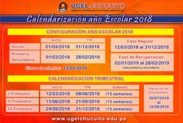 SIAGIE 2018: CALENDARIZACIÓN AÑO ESCOLAR 2018