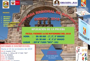 """III OLIMPIADA REGIONAL  MATEMÁTICA """"OMDEV- 2018"""""""