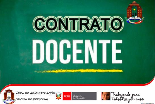 COMUNICADO N° 58: CONVOCATORIA CONTRATO DOCENTE 2019.
