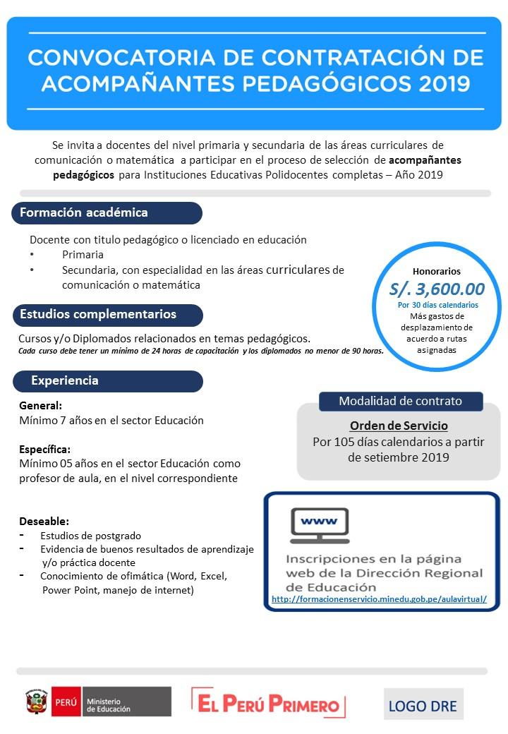 CONVOCATORIA DE CONTRATACIÓN DE ACOMPAÑAMIENTO PEDAGÓGICO 2019