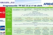 HORARIOS,  ÁREAS Y TEMAS 13 AL 17 DE ABRIL ( TELEVISIÓN)