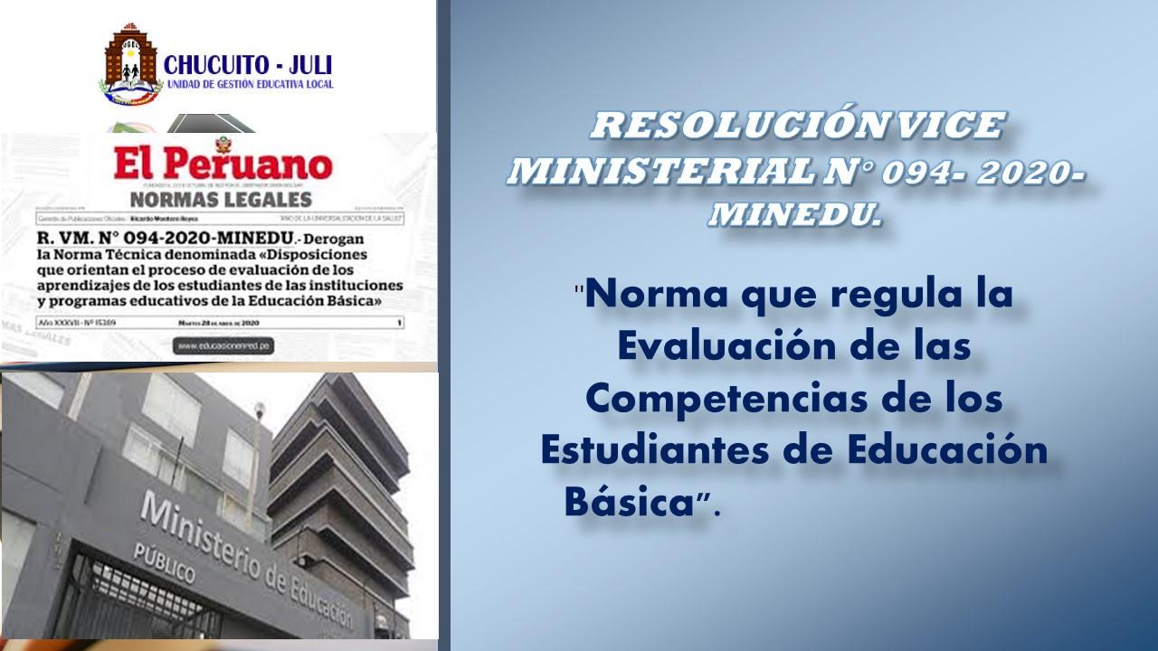 RVM N° 094-2020-MINEDU