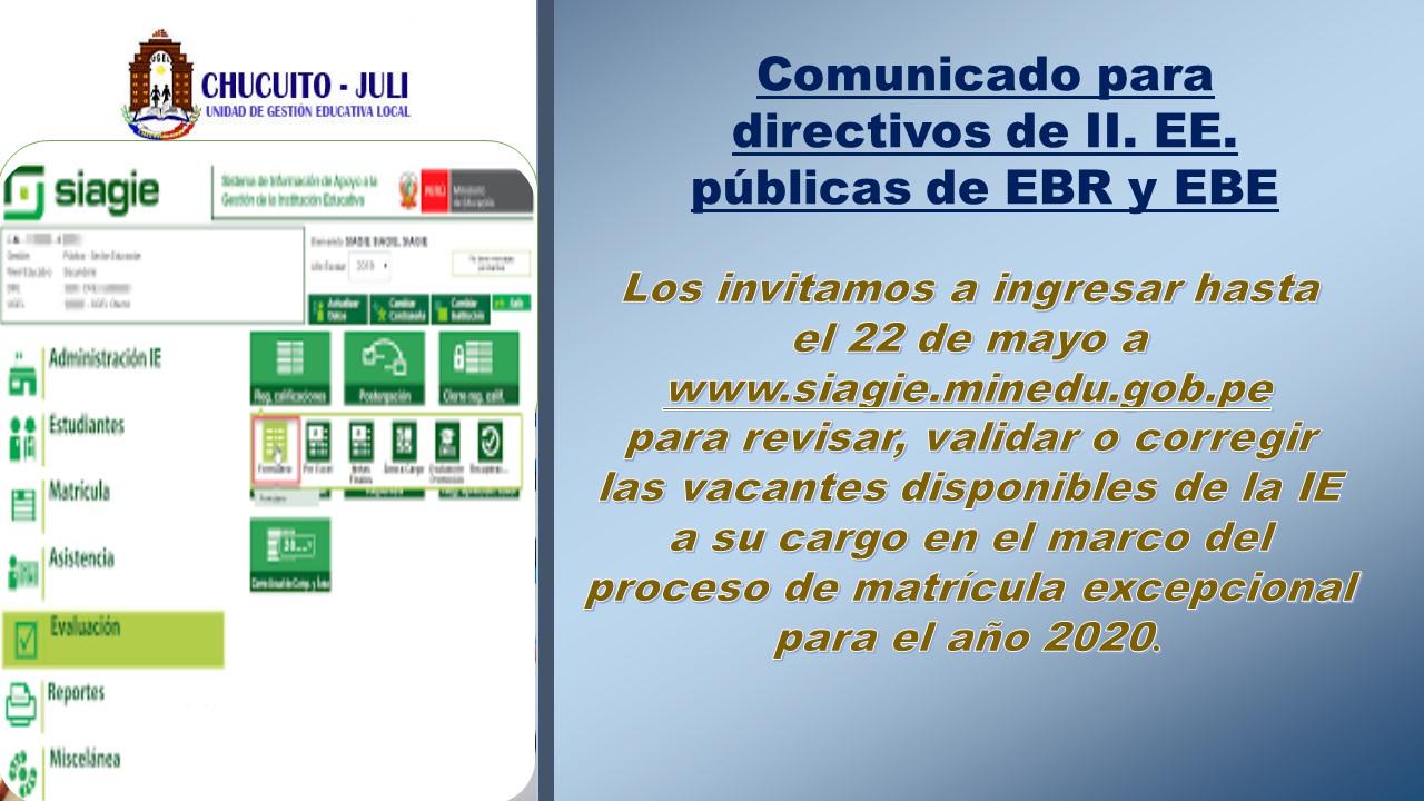 MINEDU: COMUNICADO PARA DIRECTIVOS DE II. EE. PÚBLICAS DE EBR  Y  EBE