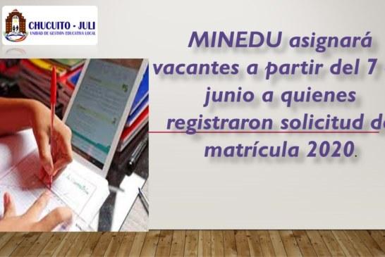 A PARTIR DEL 7 DE JUNIO, MINEDU ASIGNARÁ  VACANTES A  QUIENES REGISTRARON SU SOLICITUD DE MATRICULA 2020