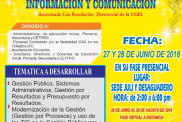 COMUNICADO POSTERGACIÓN DE FECHAS – CURSO TALLER: GESTIÓN EDUCATIVA POR RESULTADOS CON EL USO DE LAS TECNOLOGÍAS DE LA INFORMACIÓN Y COMUNICACIÓN