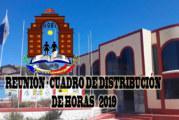 CONVOCATORIA A REUNIÓN – CUADRO DE DISTRIBUCIÓN DE HORAS 2019