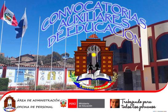 RESULTADOS PRELIMINARES – PROCESO DE CONTRATACIÓN DE AUXILIARES DE EDUCACIÓN EN IIEE – 2020. UGEL CHUCUITO