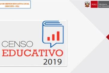 CENSO EDUCATIVO MODULO I: OFICIO MÚLTIPLE N°065-2019-DREP/UGEL CHJ-AGI-EER/D, Conclusión de reporte CENSO EDUCATIVO 2019.