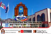 FINALIZACIÓN DEL AÑO ESCOLAR 2019 – DOCUMENTOS A ENTREGAR. ÁREA DE ADMINISTRACIÓN
