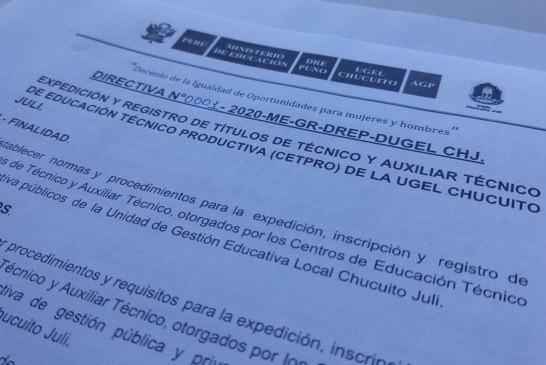 DIRECTIVA 0001 – EXPEDICIÓN Y REGISTRO DE TÍTULOS CETPRO