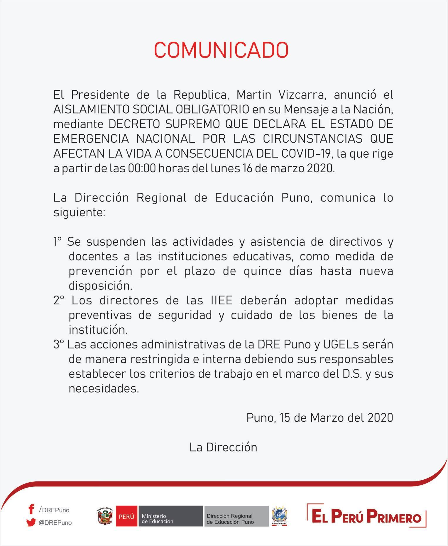 COMUNICADO SOBRE DECLARATORIA DE ESTADO DE EMERGENCIA – DRE PUNO
