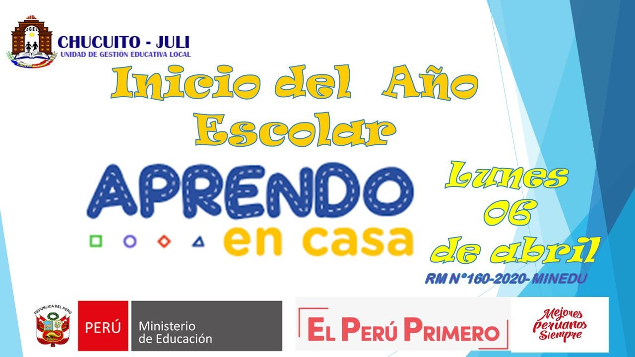 INICIO DE CLASES. LUNES 06 DE ABRIL