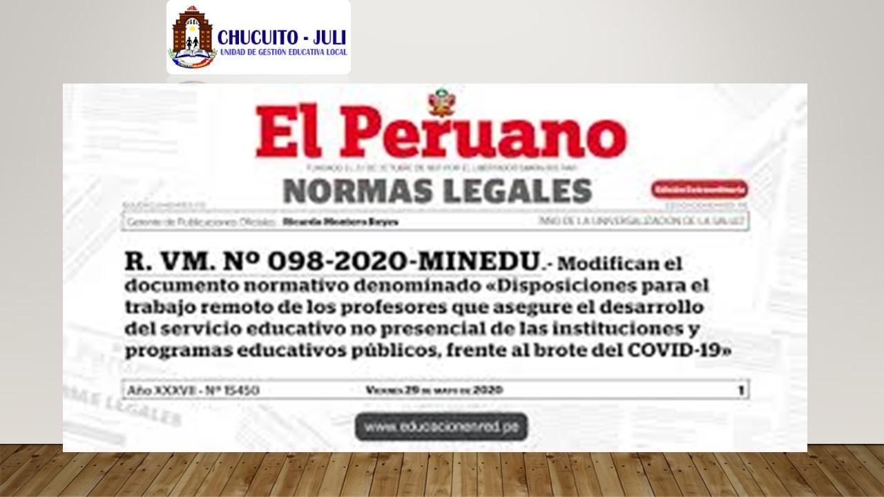 RVM_N° 098-2020-MINEDU Y OFICIO MÚLTIPLE N° 042- 2020- MINEDU