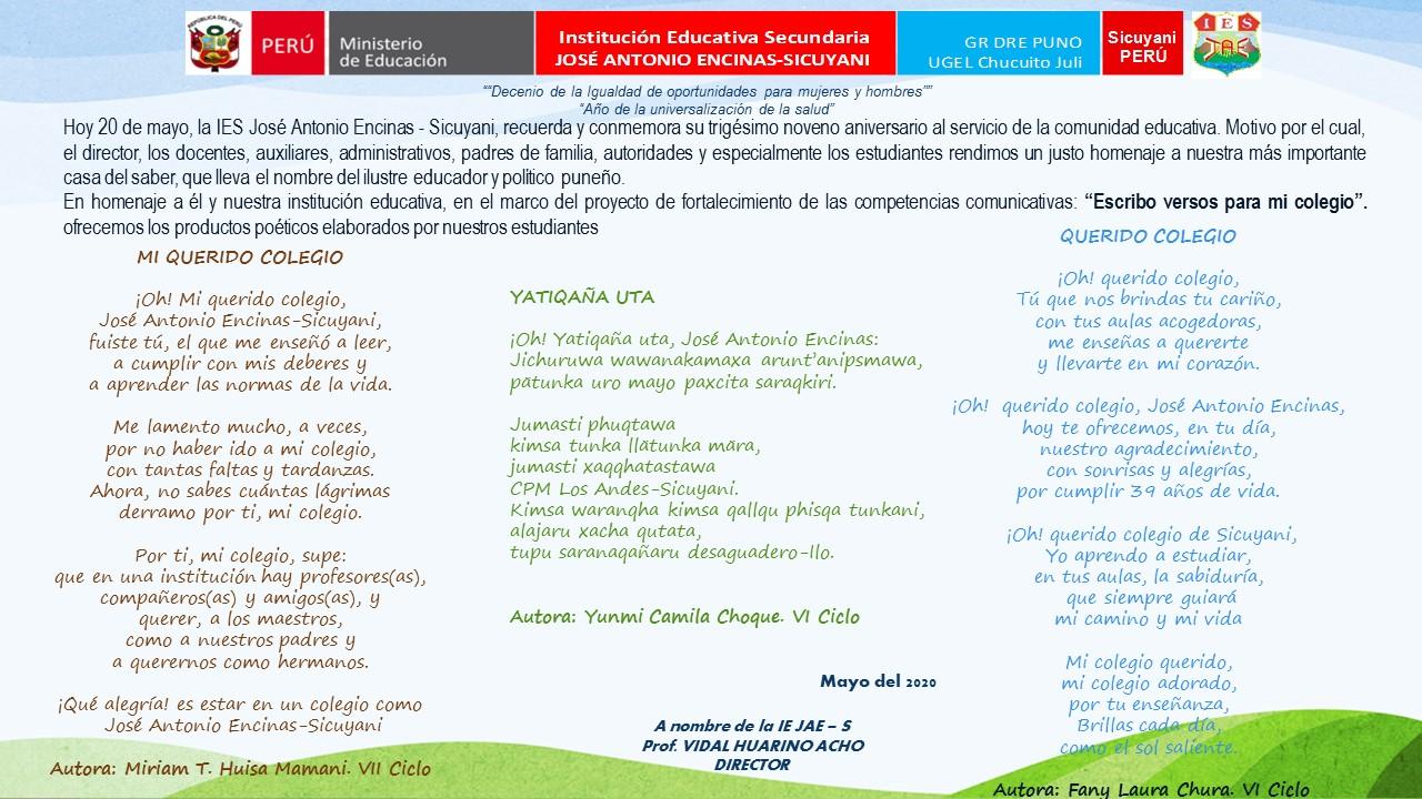 PRODUCCIÓN POÉTICA EN  39 ANIVERSARIO DE I.E.S JOSÉ ANTONIO ENCINAS -SICUYANI