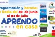 PROGRAMACIÓN Y  HORARIOS DE APRENDO EN CASA DEL 30 AL 03 DE JULIO