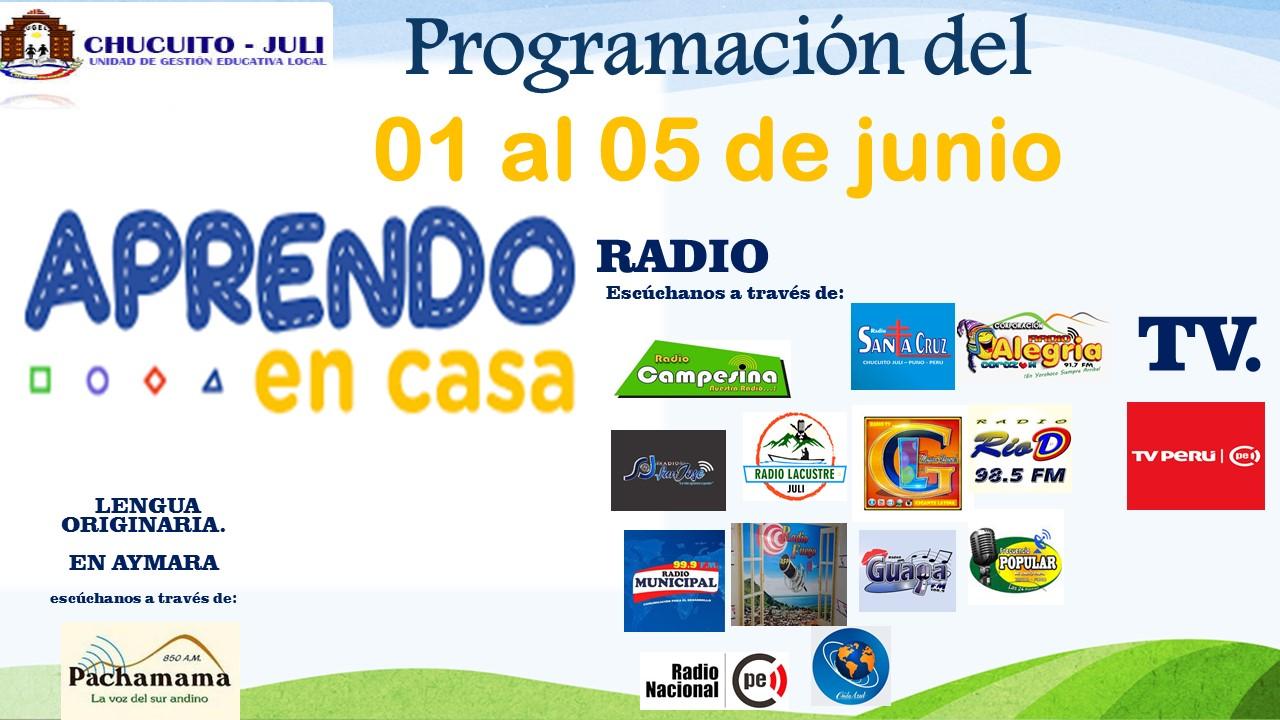 HORARIOS Y PROGRAMACIÓN DEL 01 AL 05 DE JUNIO