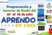 PROGRAMACIÓN Y HORARIOS 07 AL 10 JULIO. APRENDO EN CASA