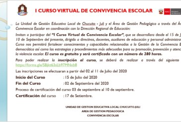 I CURSO VIRTUAL DE CONVIVENCIA ESCOLAR
